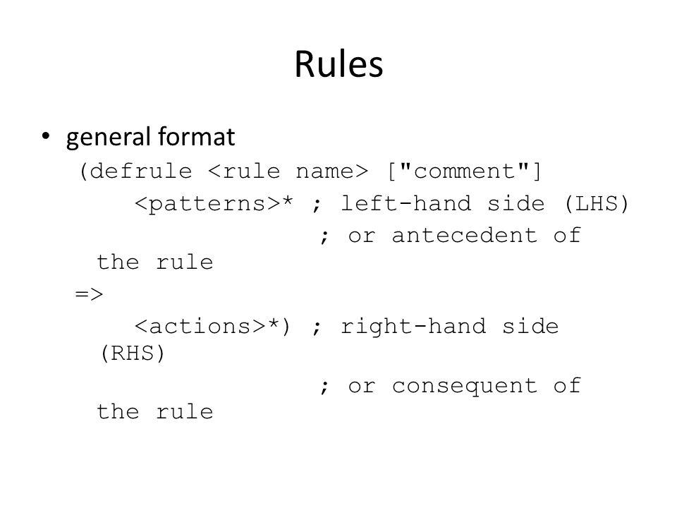 Rules general format (defrule <rule name> [ comment ]